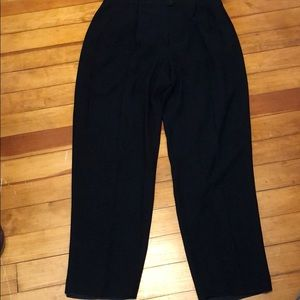 Classic Front Pleated Black Pants